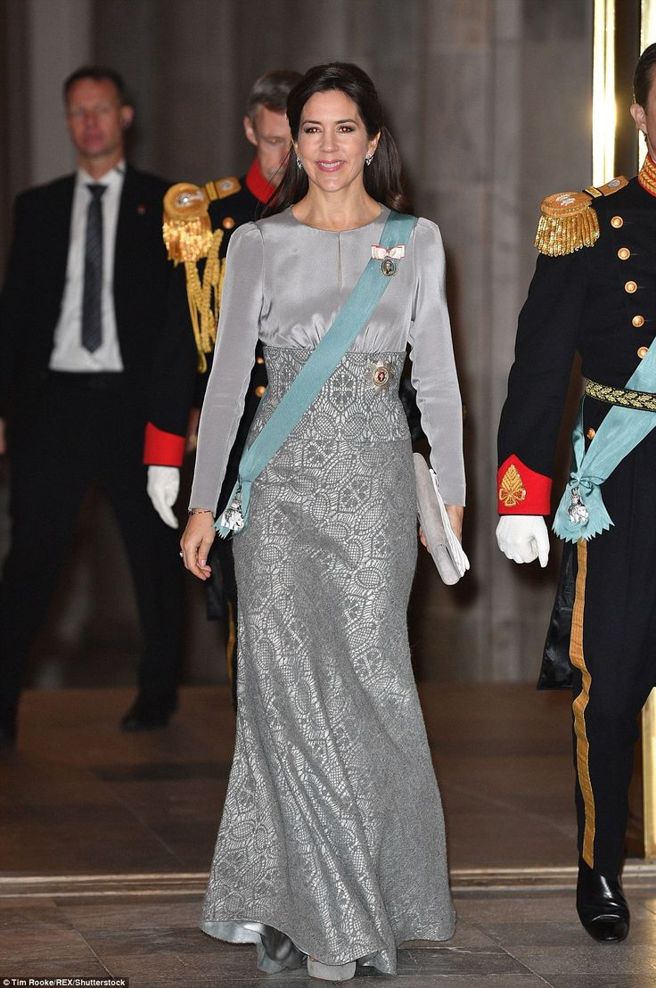 Australian-born Danish royal Princess Mary, 44, donned floor-sweeping gown to attend New Year's Diplomatic Reception at Copenhagen's Christiansborg Palace on Tuesday.