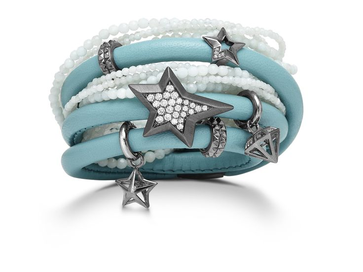 Beautiful Blue! Star studded leather and bead bracelet available from Inuti Designer Jewellery in Windsor, Berkshire. https://www.facebook.com/InutiDesignerJewelleryLtd