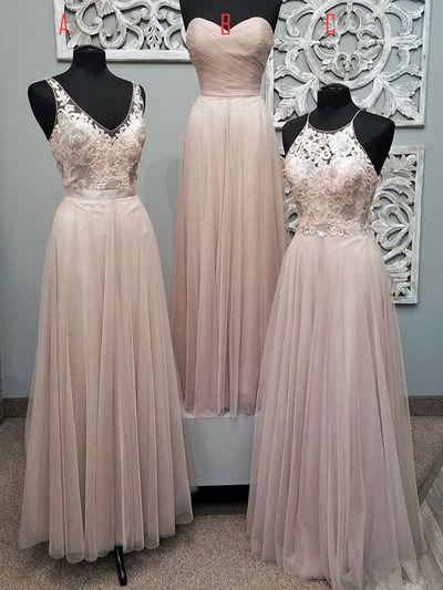 Bridesmaid Dress,Dust Pink Bridesmaid Dress, Bridesmaid Dress With Appliques,Elegant Bridesmaid Dress, Bridesmaid Dress Long. PD210108