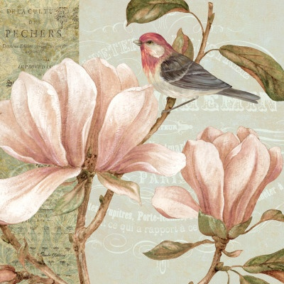 Delicate magnolia pink flower painting with bird