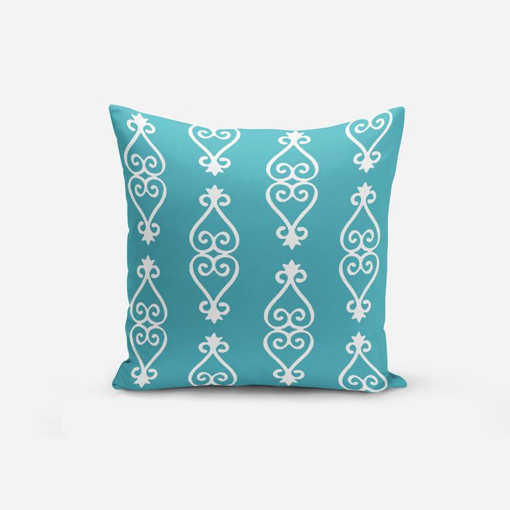 blue and turquoise throw pillows in moroccan blue turquoise chartreuse and white