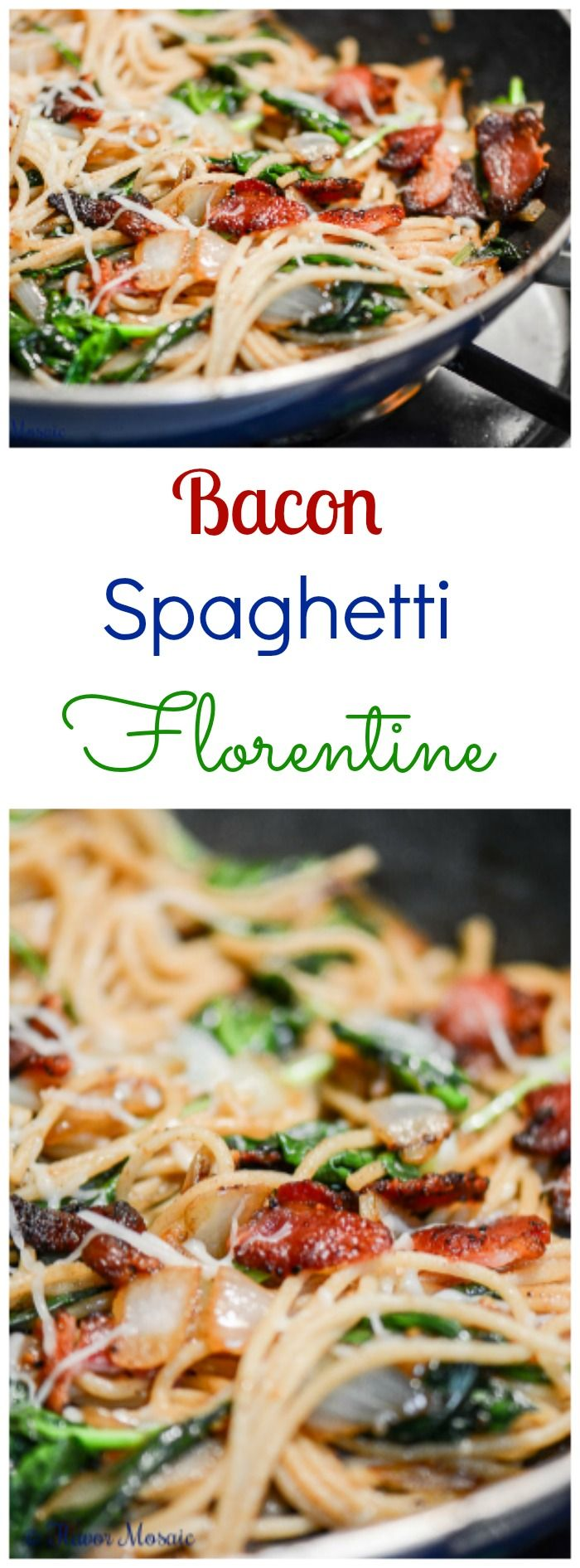 Bacon Spaghetti Florentine is a quick and easy pasta dinner made with spaghetti, bacon, spinach, onions, garlic, and Italian cheeses, including mozzarella, parmesan, and asiago.