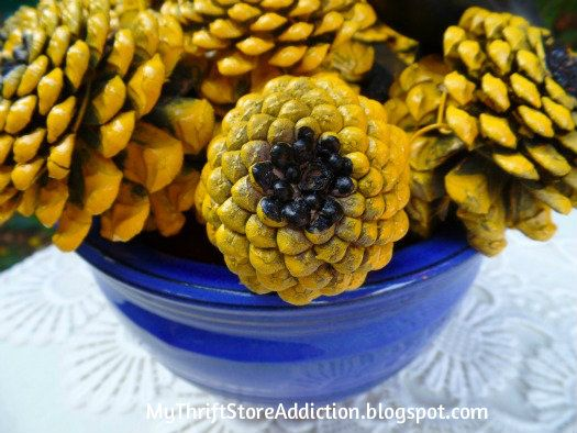 My Thrift Store Addiction : Painted Pinecone Sunflowers