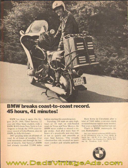 1969 BMW breaks coast-to-coast record. 45 hours, 41 minutes!