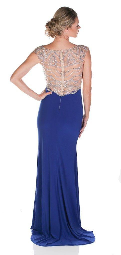 Clarisse 2729 Navy Crystal Cap Sleeve Dress $110 Rental Blue Gown, Cap Sleeve Gown, Crystal Beaded Gown, Rhinestone Gown, Black Tie Gown, Blue Prom Dress