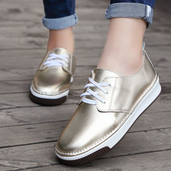Women Shoes Casual Outdoor Slip On Round Toe Leather Comfortable Flats Loafers
