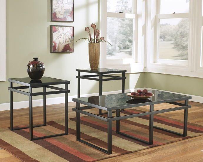 Ashley Furniture T180 13 3 Pc Laney Black Matte Finish Metal And