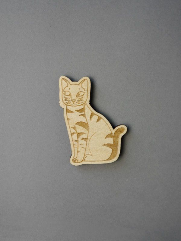 cat kedi wood eco handmade illustration lasercut brooch #cat #lasercut