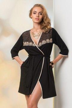 Szlafrok Erika czarno-beżowy - Zmysłowy i bardzo elegancki szlafrok dopełniony ślicznym, kwiecistym motywem.