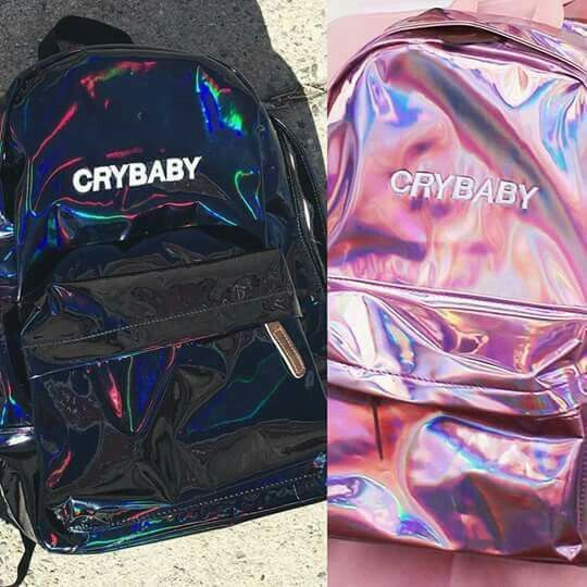 Pink Holographic Crybaby Backpack / Black Holographic Backpack – Emily Cordemans
