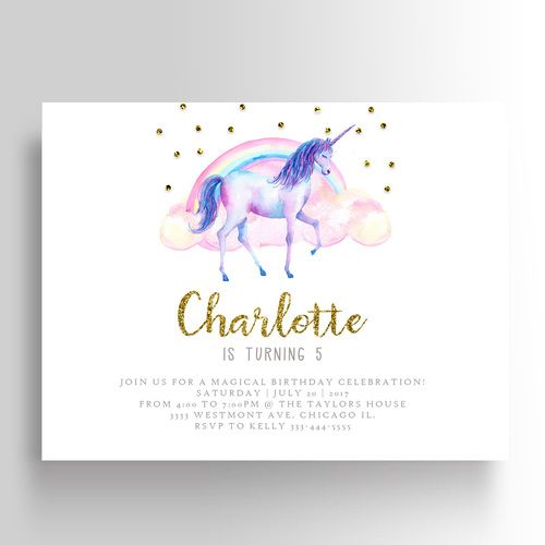 23 best Unicorn birthday invitation images – Cheap First Birthday Invitations
