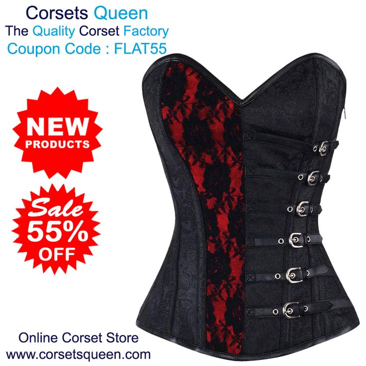 Agbeze Gothic Brocade Overbust Corset, Red and black corset, Red and black Dress, RedDress, Black Dresss