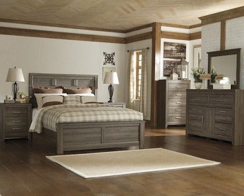 Ashley Juararo Queen Bedroom set Set Includes: Queen Bed Frame, Nightstand, Dresser, and mirror Get the look of posh barn wood without setting foot in a salvage yard. Replicated rough-sawn oak of the
