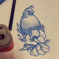 This quail sits atop a bouquet of flowers.  Small enough for a wrist, but potentially large enough for wherever.  A beautiful nature tattoo.