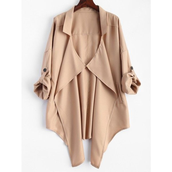 Plus Size Rolled Sleeve Draped Trench Coat (155 GTQ) ❤ liked on Polyvore featuring outerwear, coats, drape coat, womens plus coats, women's plus size coats, draped trench coat and trench coat