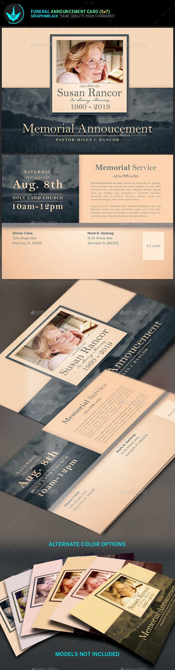 Classic Funeral Announcement Card Template Need a unique funeral program design with a vintage look for the deceased? Look no further, this file is easy to use and will give you a wonderful, clean presentation. Customize this flexible file in multiple ways to honor your loved one.