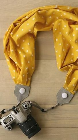 Mustard Yellow Scarf Camera Strap