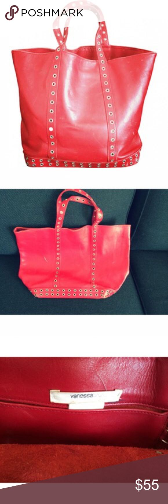 Vanessa Bruno RED BAG Nice Red Leather Bag from French Designer VANESSA BRUNO. The bag shows some light white traces of wear, for this reason accepting offers Vanessa Bruno Bags Totes