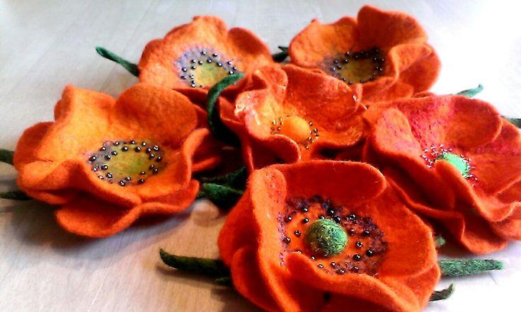 Mohnblumen gefilzt von Wollannna-Maki filcowane