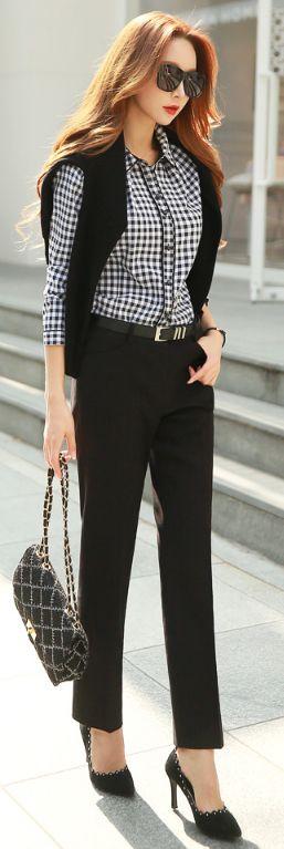 StyleOnme_Basic Straight Leg Pants #black #workwear #pants #koreanfashion #chic #formal #dresspants #professional #officelook #seoul #kstyle