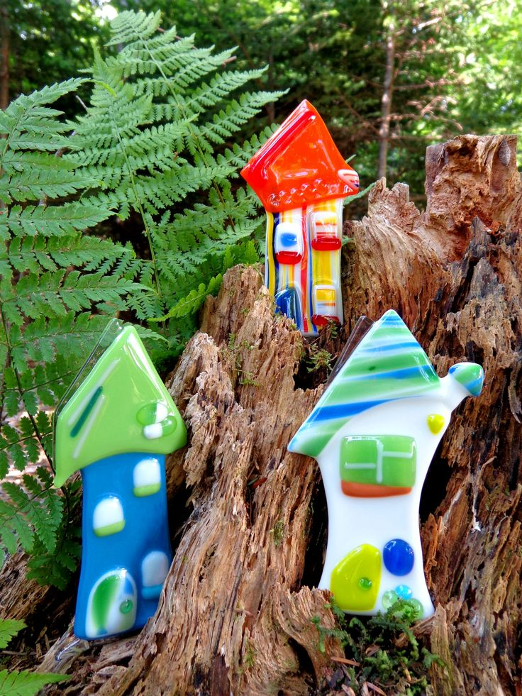 Whimsical fused glass elf-sized houses... Would be cute as plant pals in house plants!