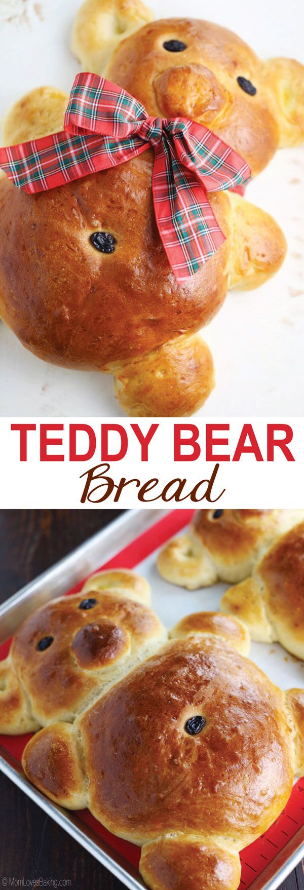 Teddy Bear Bread - Not only is it completely adorable, but it's also completely delicious! Find the recipe on http://MomLovesBaking.com