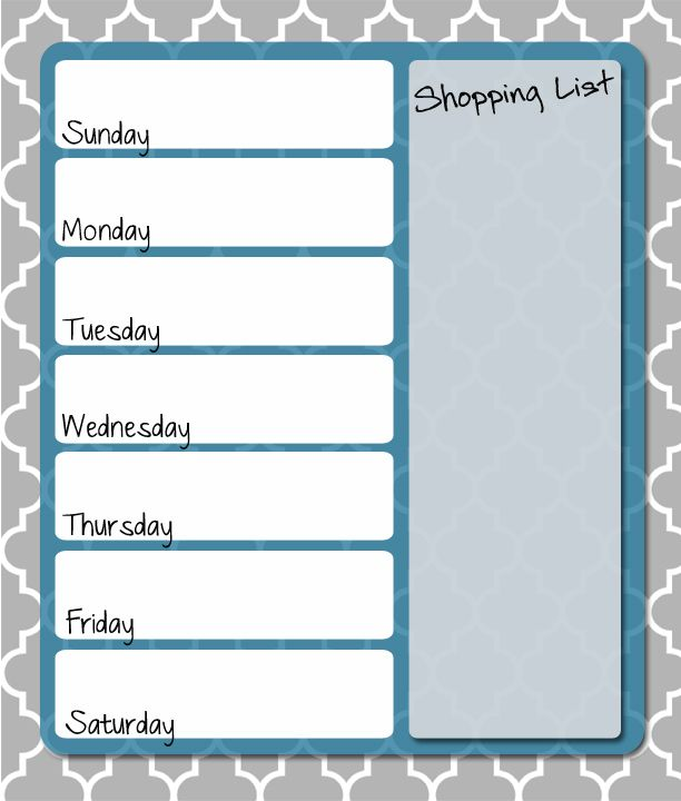 Free printable weekly menu planner free printables for Home plan weekly