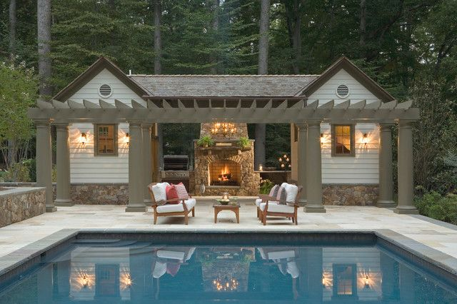Pool Wonderful Traditional Pool House Designs With Rustic