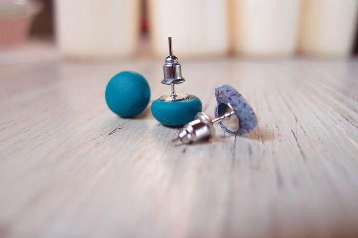Set of 3 earrings lobe button & heart , polymer clay, handmade earrings, spring, vitamin colors, candy earrings, green, yellow di briceEmiceHandmade su Etsy