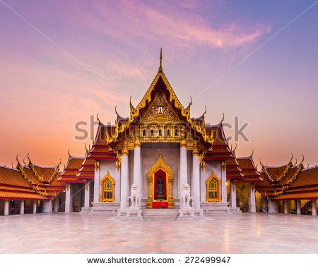 The famous marble temple Benchamabophit from Bangkok, Thailand - stock photo