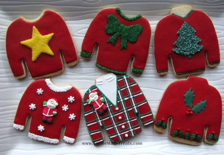 Whether you love or hate Christmas sweaters these cookies are cute! {Check out the free Sweater-izer app here: http://funistheanswer.com/sweater-izer/ #Christmas #cookies #ChristmasSweater