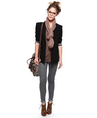 Perfect outfit for Fall. Grey leggings. Brown ankle boots. Black blazer. Taupe scarf. Silk blouse.