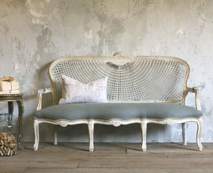 Vintage  Louis XV French Style Cane Upholstered Setee-carved, floral, shabby chic, upholstered, burlap, furniture, couch,settee, rose, white, linen,medallion,