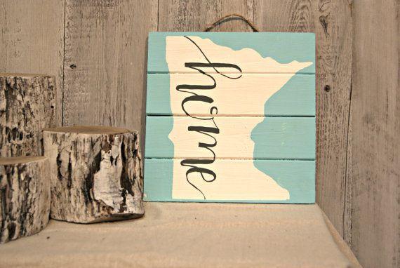 """Minnesota """"Zuhause"""" / / Handgemalte Silhouette Zustand auf Palette Holz Zeichen"""