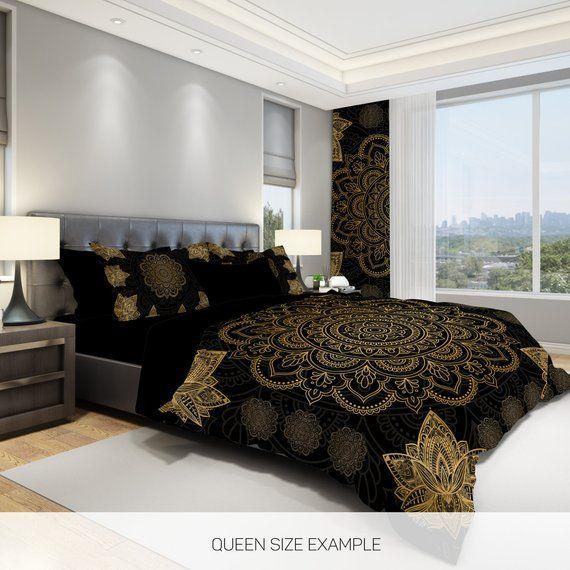 Black And Gold Bedding Lotus Flower Bedding Set Sacred Mandala