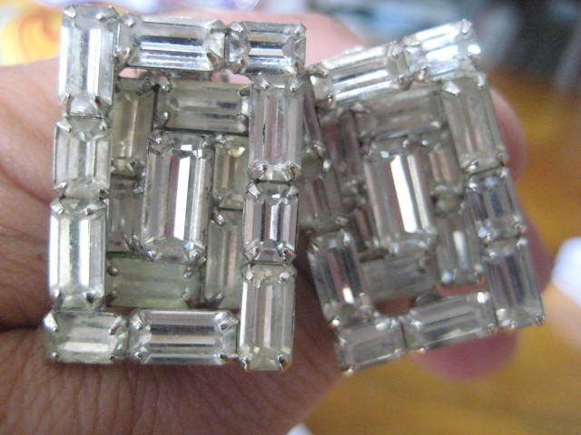 Baguette Prong Set Rhinestone Vintage Clip On Earrings