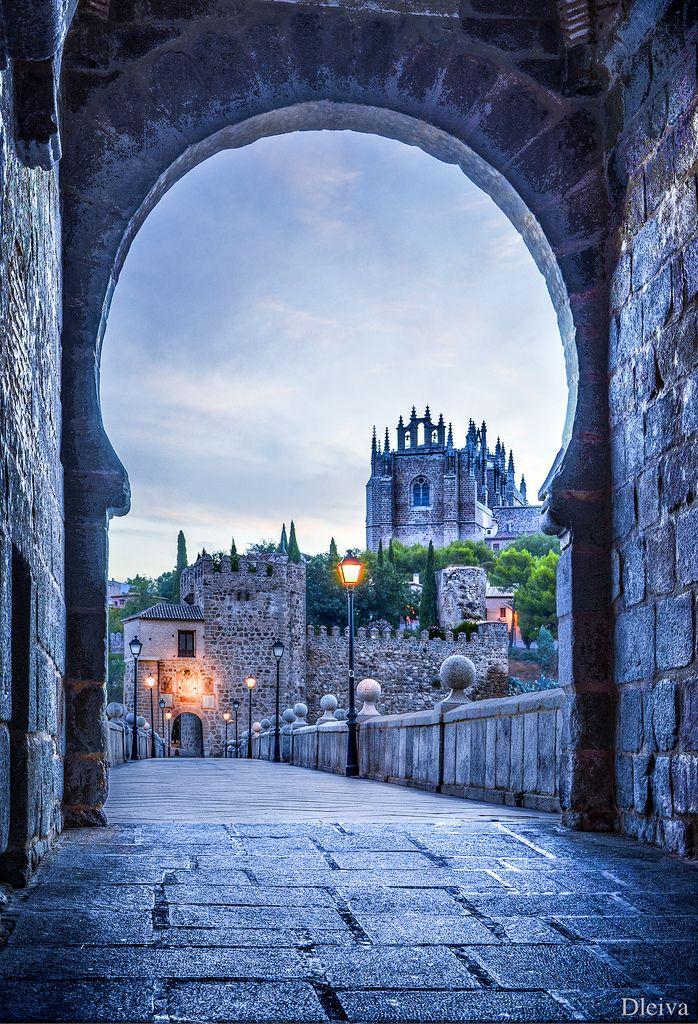 metronudes:  Church of San Juan de los Reyes viewed along Puente de San Martin, Toledo, Spain (bydleiva)