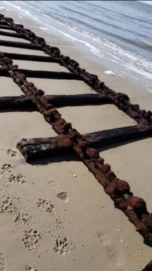 Several times a year, during low tide, two pairs of historic train tracks are revealed on this New Jersey beach.