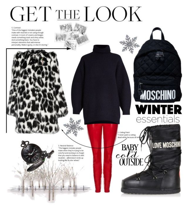 """""""Let it snow!"""" by nancykou on Polyvore featuring Moschino, Topshop, Acne Studios, Marc Jacobs, Home Decorators Collection and Allurez"""