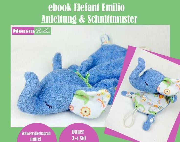 Elefant Emilio Schnuffeltuch ebook von MonstaBella auf DaWanda.com