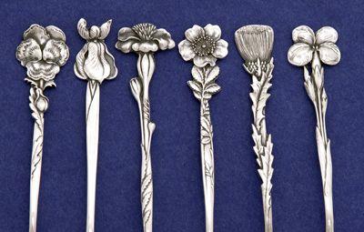 Details of Tiffany & Co. 'Floral' Sterling Silver Demitasse Spoons - set of 12, c. 1890   JV