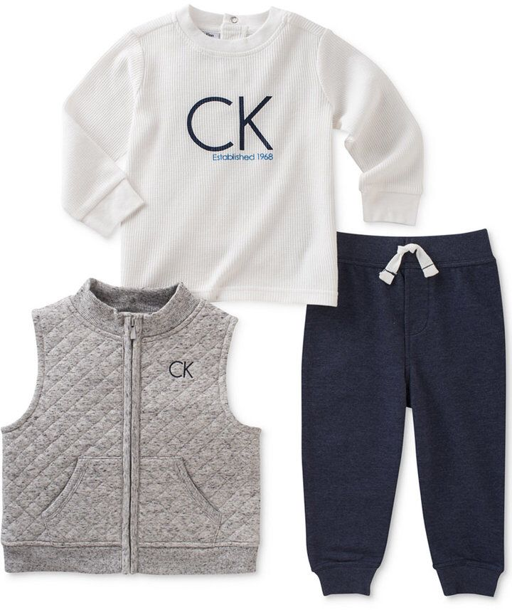 Calvin Klein 3 Pc Quilted Vest Logo T Shirt Pants Set Baby Boys 0 24 Months Boys Designer Clothes Kids Outfits Kids Fashion Casual