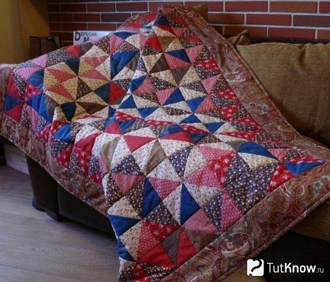 Изготовление одеяла из лоскутов в технике треугольников