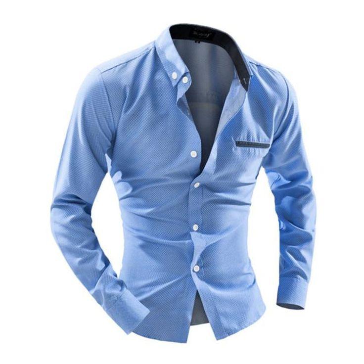 2017 Plus Size Solid Dress Shirt Men Formal Fashion Long Sleeve Slim