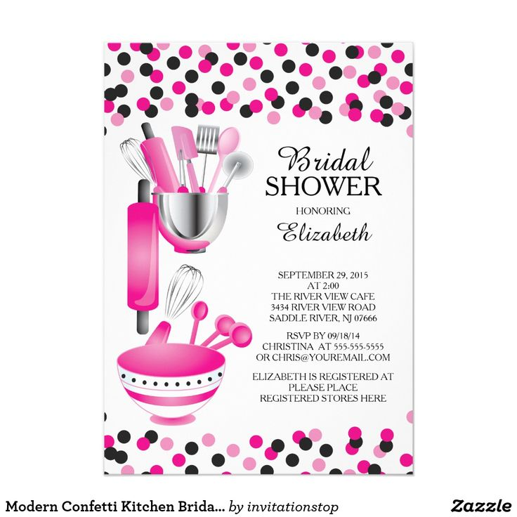 Modern Confetti Kitchen Bridal Shower Invitations Modern stock the kitchen bridal shower invitation featuring a rolling pin, mixing bowl, spatula, pizza cutter, whisk, vegetable peeler and measuring spoons set on a contemporary white background with hot pink & black polka dot confetti. Visit our shop to view this invitation in a variety of popular wedding shower invitations.