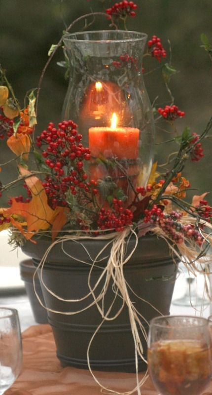♔ fall centerpiece.....could be switched out for X-mas by changing out the florals etc.
