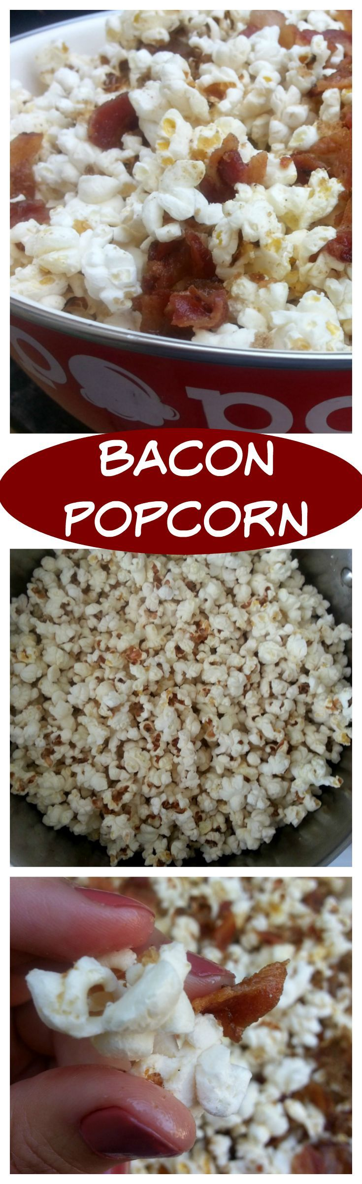 Bacon Popcorn - sweet and spice and everything nice. This recipe is a keeper for any foodie or bacon lover. Enjoy! - by Mama Maggie's Kitchen #bacon #baconpopcorn #popcorn #appetizer #gameday #recipe