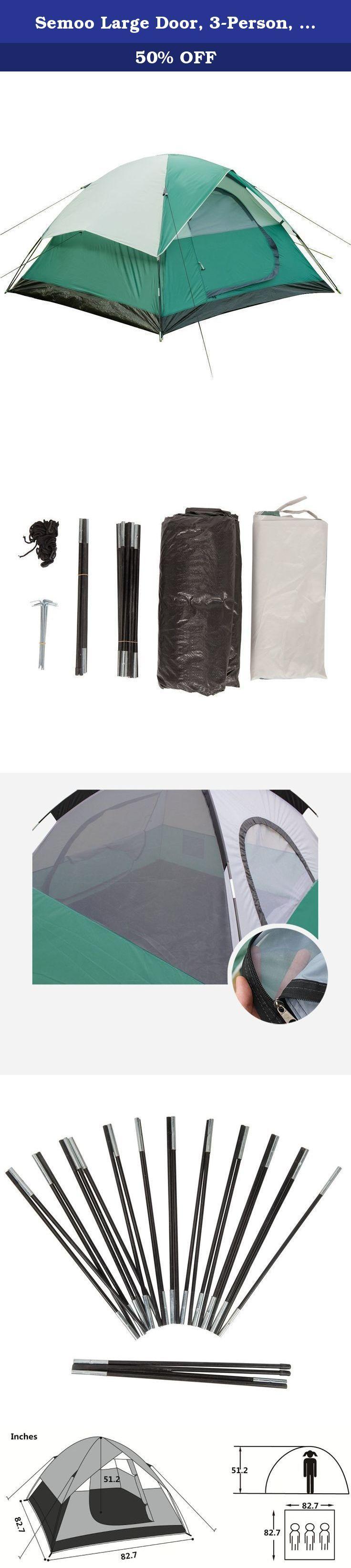 Semoo large door 3 person 3 season lightweight water resistant family camping