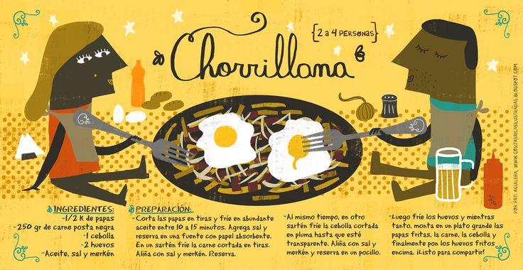 Chorrillana // El merkén o merquén es un aliño preparado con ají seco ahumado y otros ingredientes. Es un condimento picante con algo de sabor ahumado y tiene aspecto de polvo rojo con pequeñas escamas de diferentes tonalidades.
