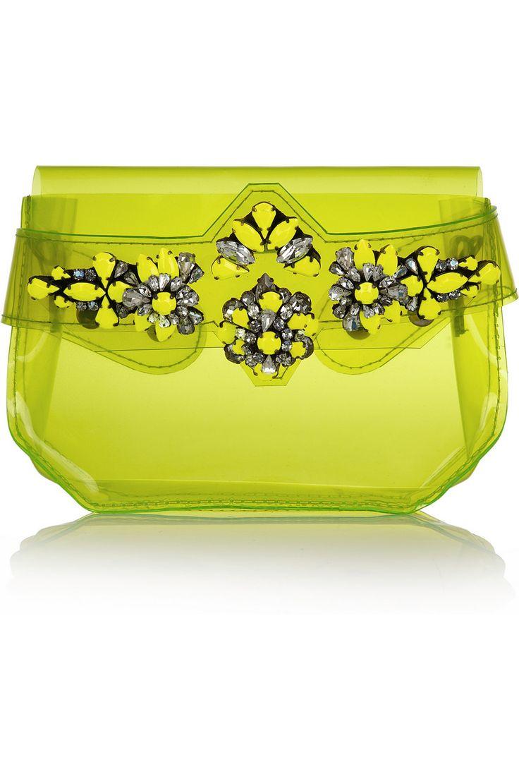 Shourouk|Crystal-embellished PVC clutch|NET-A-PORTER.COM